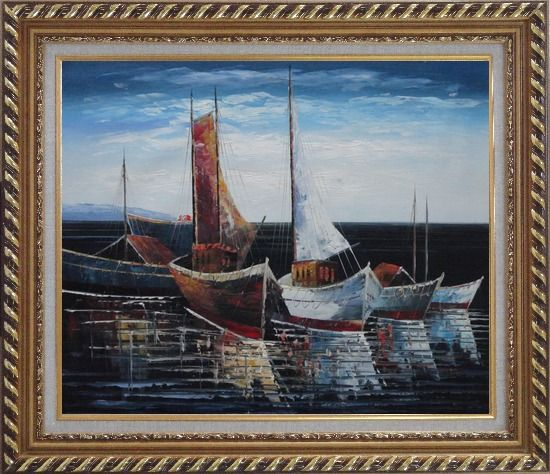 Framed Sail Boats in Port Oil Painting Impressionism Exquisite Gold Wood Frame 26 x 30 Inches