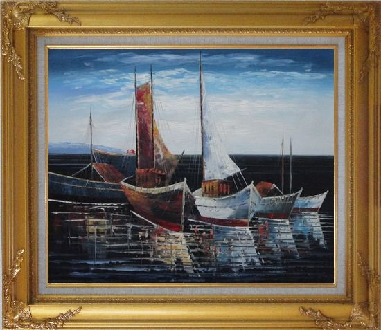 Framed Sail Boats in Port Oil Painting Impressionism Gold Wood Frame with Deco Corners 27 x 31 Inches