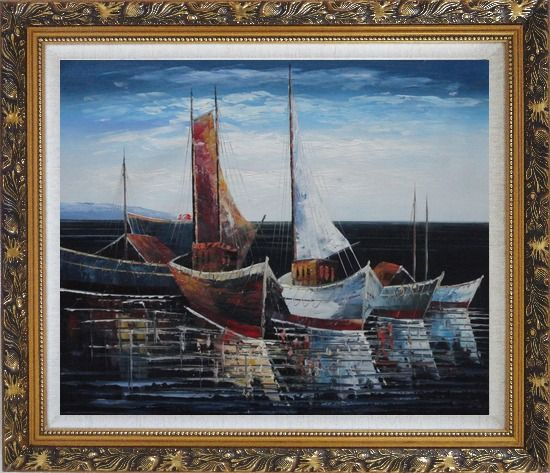 Framed Sail Boats in Port Oil Painting Impressionism Ornate Antique Dark Gold Wood Frame 26 x 30 Inches