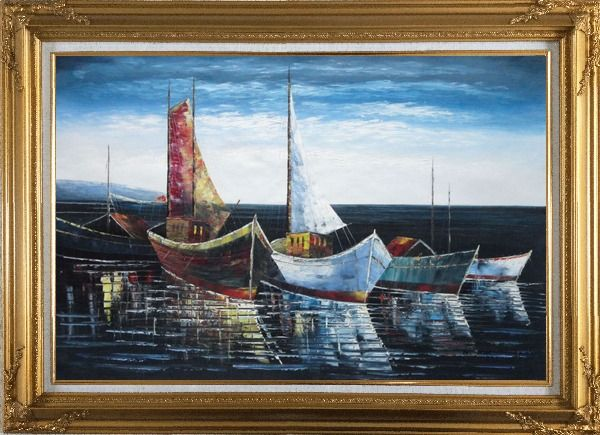 Framed Sail Boats in Port Oil Painting Impressionism Gold Wood Frame with Deco Corners 31 x 43 Inches