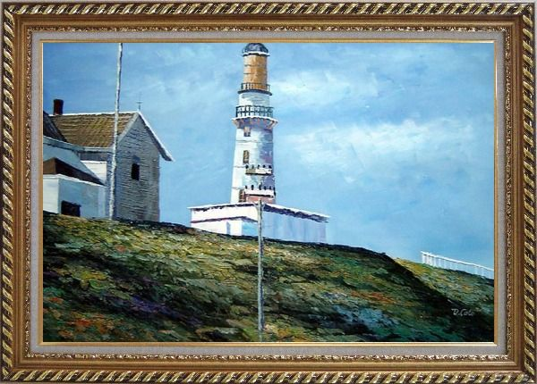 Framed Light House Oil Painting Village Naturalism Exquisite Gold Wood Frame 30 x 42 Inches