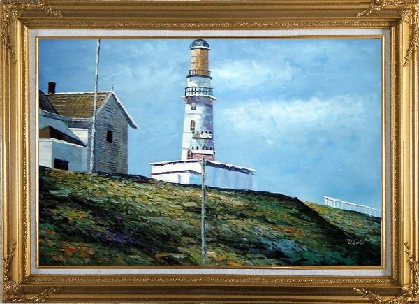 Framed Light House Oil Painting Village Naturalism Gold Wood Frame with Deco Corners 31 x 43 Inches