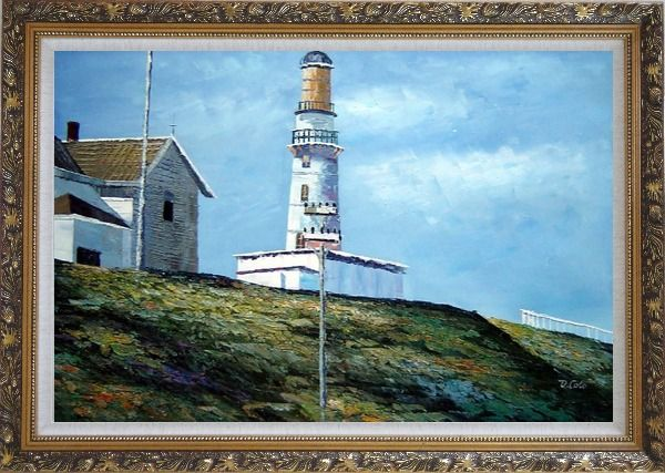 Framed Light House Oil Painting Village Naturalism Ornate Antique Dark Gold Wood Frame 30 x 42 Inches