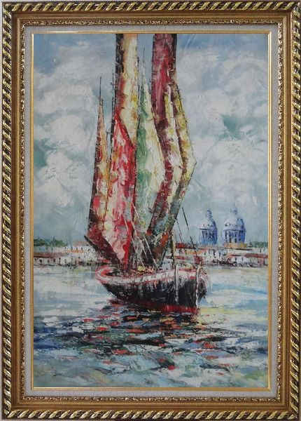 Framed Fully Rigged Sailing Boat Oil Painting Modern Exquisite Gold Wood Frame 42 x 30 Inches