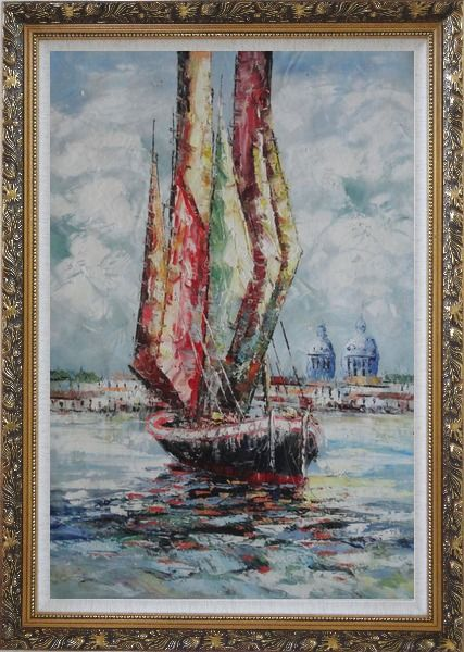 Framed Fully Rigged Sailing Boat Oil Painting Modern Ornate Antique Dark Gold Wood Frame 42 x 30 Inches