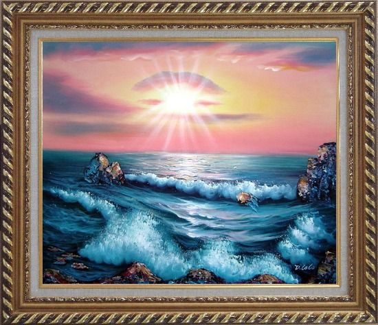 Framed Ocean Sunset Sea Waves Oil Painting Seascape Naturalism Exquisite Gold Wood Frame 26 x 30 Inches