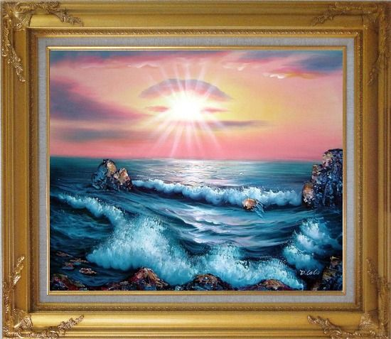 Framed Ocean Sunset Sea Waves Oil Painting Seascape Naturalism Gold Wood Frame with Deco Corners 27 x 31 Inches