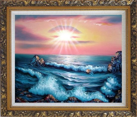 Framed Ocean Sunset Sea Waves Oil Painting Seascape Naturalism Ornate Antique Dark Gold Wood Frame 26 x 30 Inches