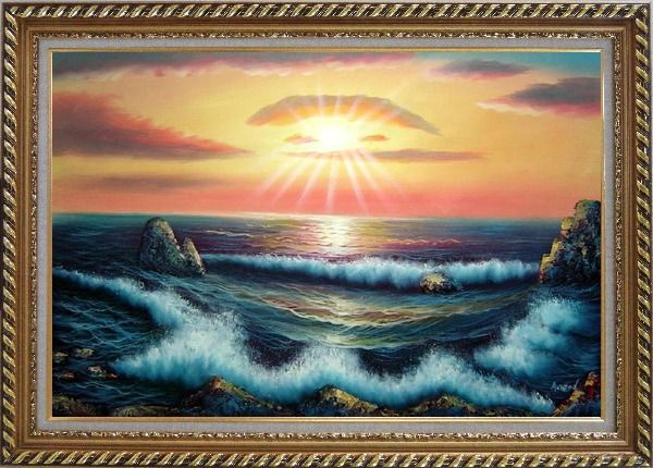 Framed Ocean Sunset Sea Waves Oil Painting Seascape Naturalism Exquisite Gold Wood Frame 30 x 42 Inches