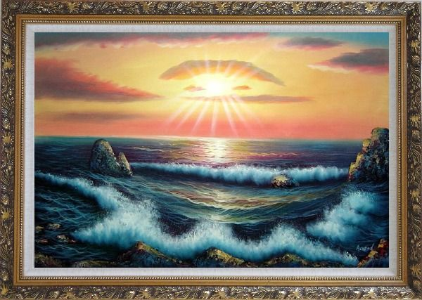 Framed Ocean Sunset Sea Waves Oil Painting Seascape Naturalism Ornate Antique Dark Gold Wood Frame 30 x 42 Inches