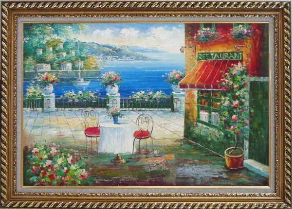 Framed Beach Sidewalk Restaurant Oil Painting Mediterranean Naturalism Exquisite Gold Wood Frame 30 x 42 Inches