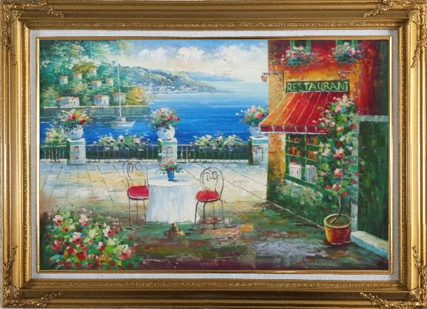 Framed Beach Sidewalk Restaurant Oil Painting Mediterranean Naturalism Gold Wood Frame with Deco Corners 31 x 43 Inches