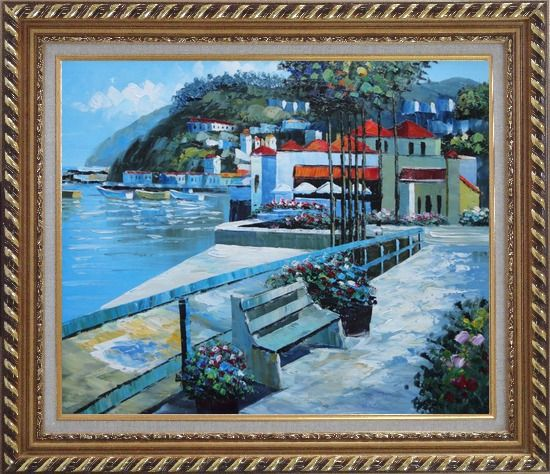 Framed Red Roof Beach Houses Oil Painting Mediterranean Naturalism Exquisite Gold Wood Frame 26 x 30 Inches