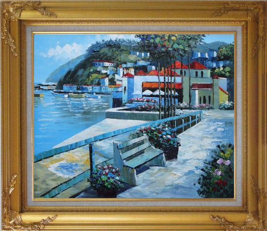 Framed Red Roof Beach Houses Oil Painting Mediterranean Naturalism Gold Wood Frame with Deco Corners 27 x 31 Inches