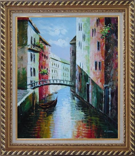 Framed Summer Small Boat Across Bridge in Venice Water Canal Oil Painting Italy Naturalism Exquisite Gold Wood Frame 30 x 26 Inches