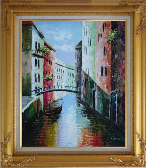 Framed Summer Small Boat Across Bridge in Venice Water Canal Oil Painting Italy Naturalism Gold Wood Frame with Deco Corners 31 x 27 Inches