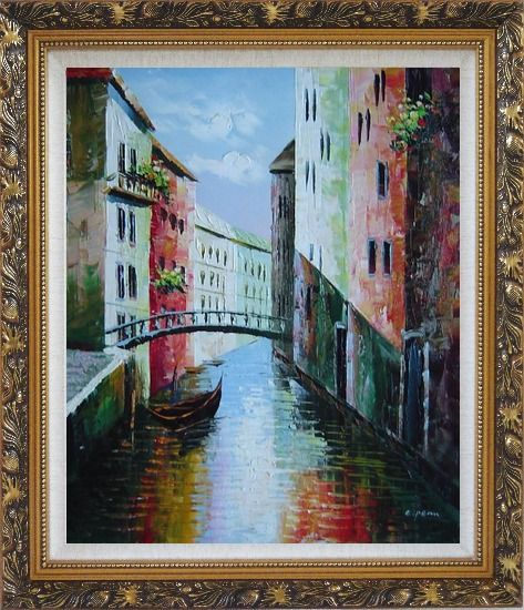 Framed Summer Small Boat Across Bridge in Venice Water Canal Oil Painting Italy Naturalism Ornate Antique Dark Gold Wood Frame 30 x 26 Inches