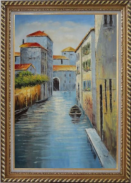 Framed Small Boat in Venice Water Canal Oil Painting Italy Naturalism Exquisite Gold Wood Frame 42 x 30 Inches