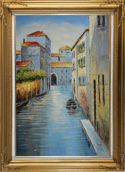 Framed Small Boat in Venice Water Canal Oil Painting Italy Naturalism Gold Wood Frame with Deco Corners 43 x 31 Inches
