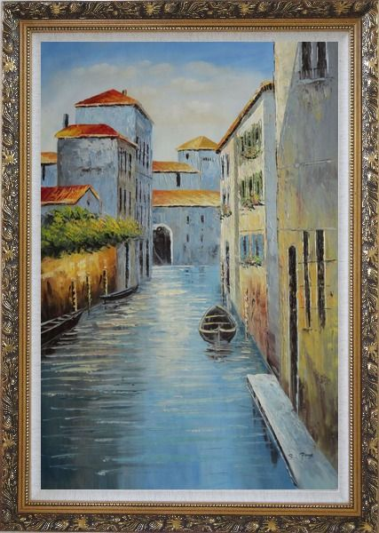 Framed Small Boat in Venice Water Canal Oil Painting Italy Naturalism Ornate Antique Dark Gold Wood Frame 42 x 30 Inches