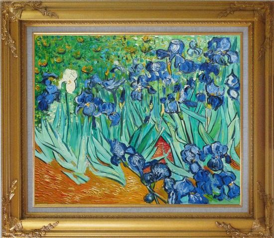 Framed Irises Van Gogh Reproduction Oil Painting Flower Post Impressionism Gold Wood Frame with Deco Corners 27 x 31 Inches