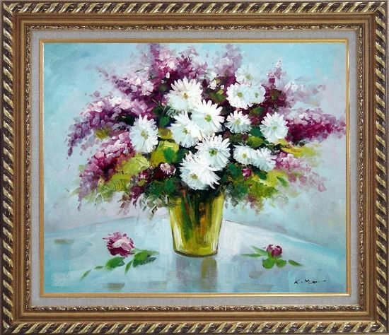 Framed Purple and White Mum and Purple Stock Flowers in Vase Oil Painting Still Life Bouquet Impressionism Exquisite Gold Wood Frame 26 x 30 Inches