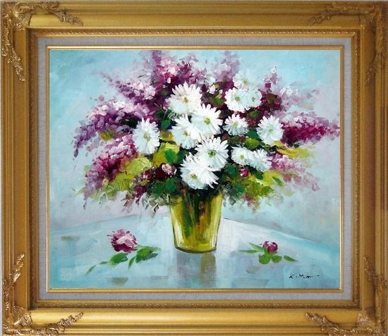 Framed Purple and White Mum and Purple Stock Flowers in Vase Oil Painting Still Life Bouquet Impressionism Gold Wood Frame with Deco Corners 27 x 31 Inches