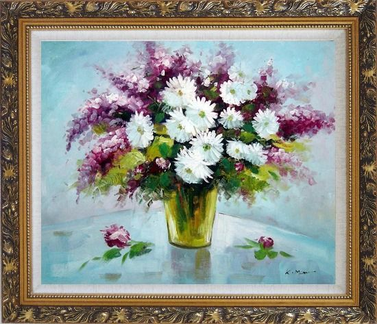 Framed Purple and White Mum and Purple Stock Flowers in Vase Oil Painting Still Life Bouquet Impressionism Ornate Antique Dark Gold Wood Frame 26 x 30 Inches