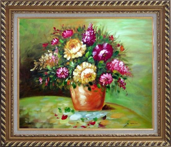 Framed Yellow and Pink Flowers in Vase Oil Painting Still Life Bouquet Impressionism Exquisite Gold Wood Frame 26 x 30 Inches