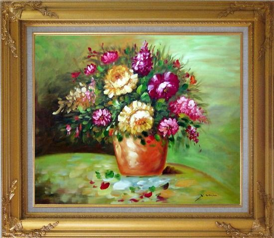 Framed Yellow and Pink Flowers in Vase Oil Painting Still Life Bouquet Impressionism Gold Wood Frame with Deco Corners 27 x 31 Inches