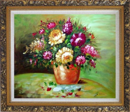 Framed Yellow and Pink Flowers in Vase Oil Painting Still Life Bouquet Impressionism Ornate Antique Dark Gold Wood Frame 26 x 30 Inches