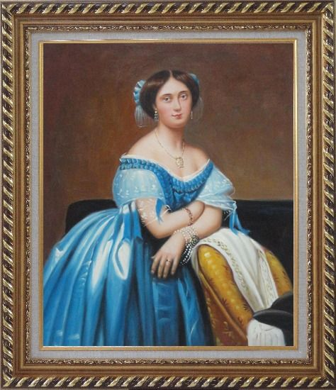 Framed A Sitting Noble Lady In Blue Satin And Sumptuous Jewels Oil Painting Portraits Woman Classic Exquisite Gold Wood Frame 30 x 26 Inches