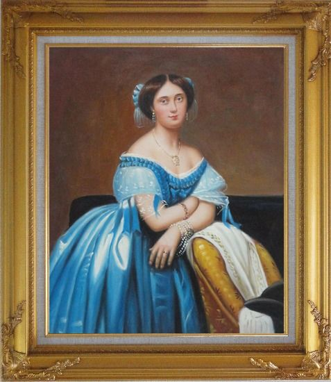 Framed A Sitting Noble Lady In Blue Satin And Sumptuous Jewels Oil Painting Portraits Woman Classic Gold Wood Frame with Deco Corners 31 x 27 Inches