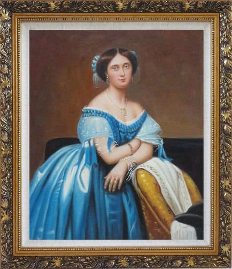 Framed A Sitting Noble Lady In Blue Satin And Sumptuous Jewels Oil Painting Portraits Woman Classic Ornate Antique Dark Gold Wood Frame 30 x 26 Inches