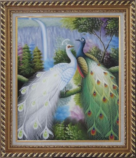 Framed Pair of White and Green Peafowl with Waterfall and Trees Oil Painting Animal Peacock Naturalism Exquisite Gold Wood Frame 30 x 26 Inches