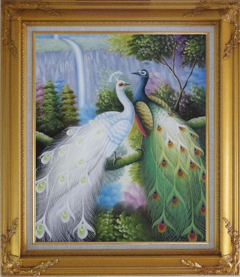 Framed Pair of White and Green Peafowl with Waterfall and Trees Oil Painting Animal Peacock Naturalism Gold Wood Frame with Deco Corners 31 x 27 Inches
