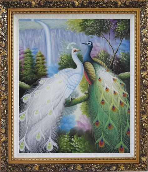 Framed Pair of White and Green Peafowl with Waterfall and Trees Oil Painting Animal Peacock Naturalism Ornate Antique Dark Gold Wood Frame 30 x 26 Inches