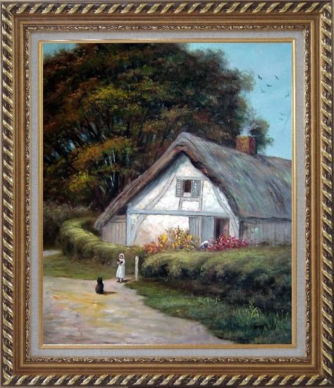 Framed Best Friends Oil Painting Village Classic Exquisite Gold Wood Frame 30 x 26 Inches