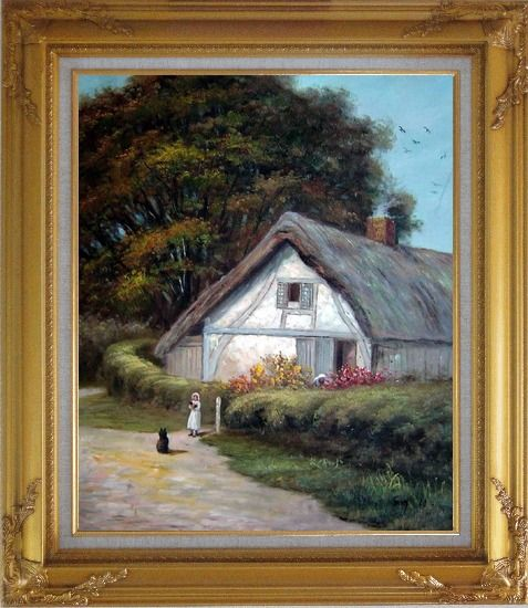 Framed Best Friends Oil Painting Village Classic Gold Wood Frame with Deco Corners 31 x 27 Inches