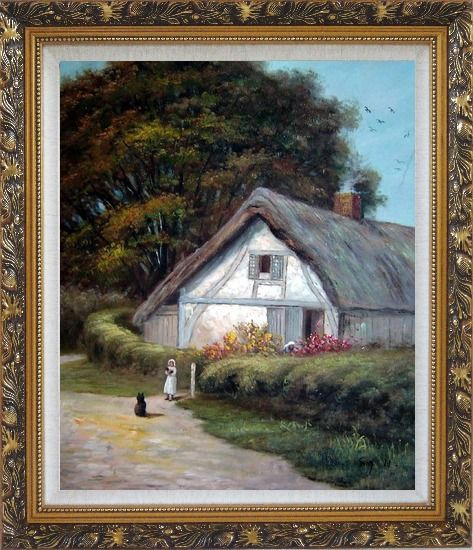 Framed Best Friends Oil Painting Village Classic Ornate Antique Dark Gold Wood Frame 30 x 26 Inches