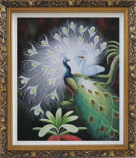 Framed White Peacock Show Feathers to Green Peacock Oil Painting Animal Naturalism Ornate Antique Dark Gold Wood Frame 30 x 26 Inches