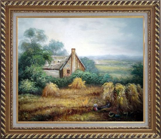 Framed Pleasant Time Oil Painting Village Classic Exquisite Gold Wood Frame 26 x 30 Inches