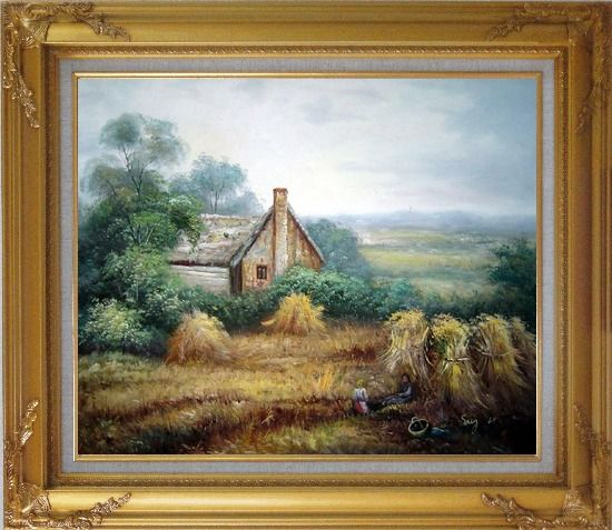 Framed Pleasant Time Oil Painting Village Classic Gold Wood Frame with Deco Corners 27 x 31 Inches