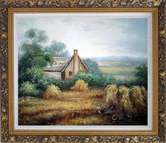 Framed Pleasant Time Oil Painting Village Classic Ornate Antique Dark Gold Wood Frame 26 x 30 Inches