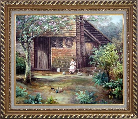 Framed Quiet Summer Time Oil Painting Village Classic Exquisite Gold Wood Frame 26 x 30 Inches