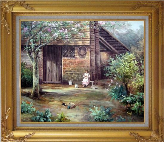 Framed Quiet Summer Time Oil Painting Village Classic Gold Wood Frame with Deco Corners 27 x 31 Inches