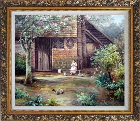 Framed Quiet Summer Time Oil Painting Village Classic Ornate Antique Dark Gold Wood Frame 26 x 30 Inches
