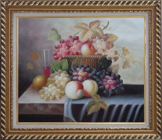 Framed Basket of Fruit with Red, White, Purple Grapes, Peaches, Plums and Cherries Oil Painting Still Life Classic Exquisite Gold Wood Frame 26 x 30 Inches