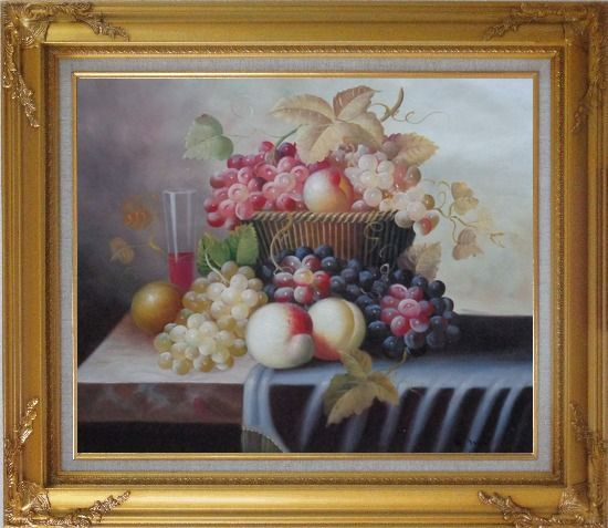 Framed Basket of Fruit with Red, White, Purple Grapes, Peaches, Plums and Cherries Oil Painting Still Life Classic Gold Wood Frame with Deco Corners 27 x 31 Inches