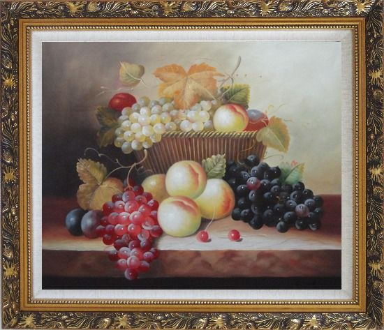 Framed Basket of Fruit with Red, White, Purple Grapes, Peaches, Plums and Cherries Oil Painting Still Life Classic Ornate Antique Dark Gold Wood Frame 26 x 30 Inches